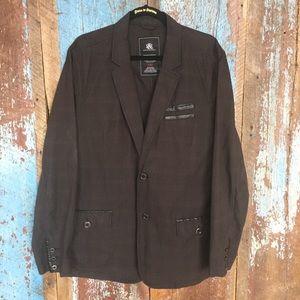 Rock & Republic Dark Gray Blazer w/ PU Leather
